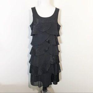 TopShop Black Tiered Scallop Dress 16